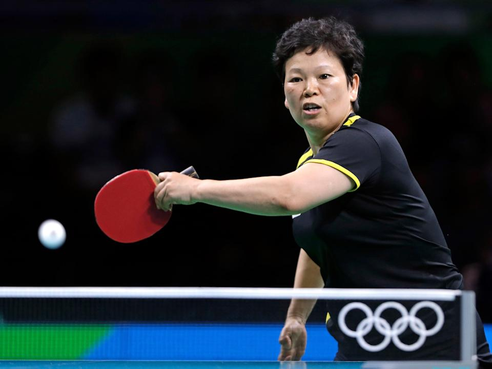 Ni Xia Lian competing for Luxembourg at the 2016 olympics in rio