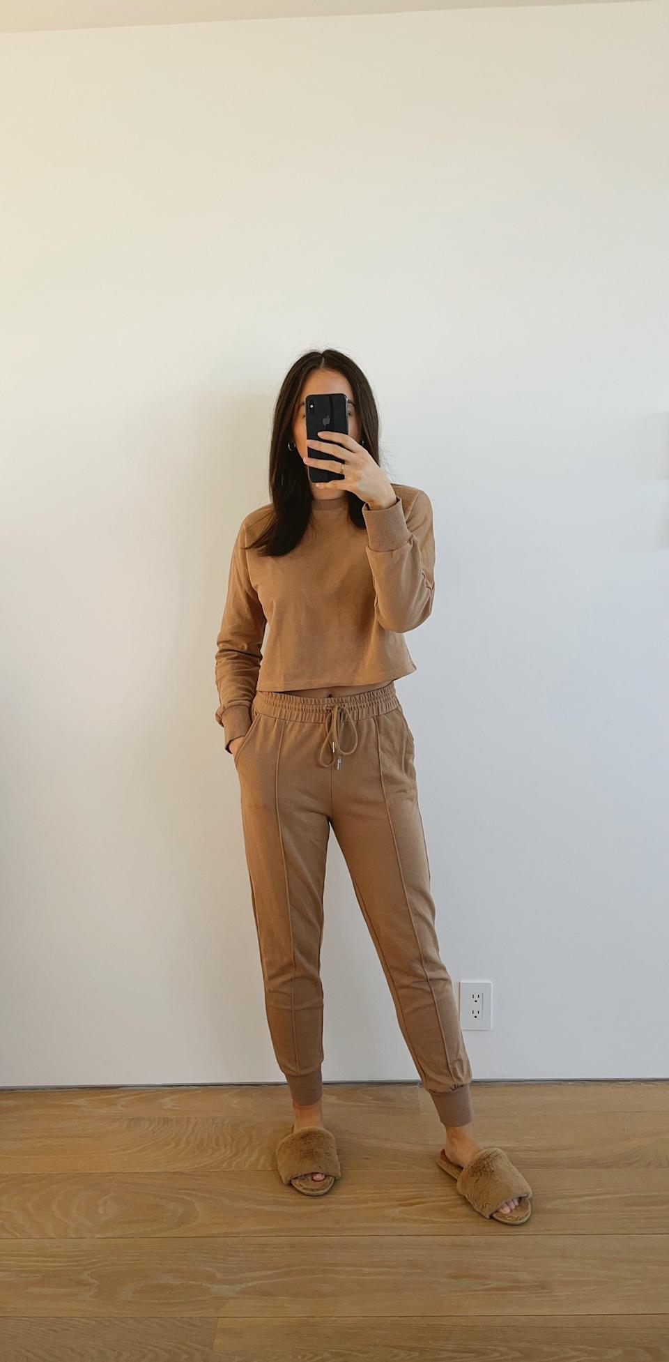 <p>I've always been a huge fan of tan loungewear sets, because I think they look so chic and classy. I've seen tons of tan sets similar to this one online for double, sometimes triple the price. I love to throw on this <span>Zesica Set</span> ($40) no matter the occasion, because it looks amazing with a pair of house slippers, but equally as good paired with white sneakers if you're out and about or on the go. </p>