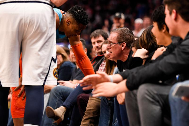 Russell Westbrook Checks Young Fan for Pushing Him During Game in Denver