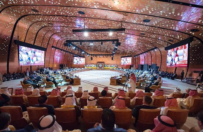 A handout picture released by the Saudi Royal Palace on April 15, 2018, shows a general view of the 29th Arab League summit in Dhahran (AFP Photo/BANDAR AL-JALOUD)