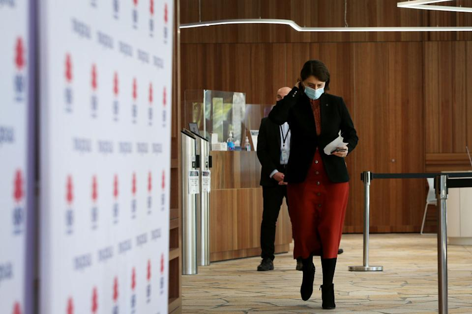 NSW Premier Gladys Berejiklian arrives at a Covid-19 update and press conference  in Sydney, Australia.