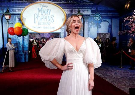 FILE PHOTO: Cast member Emily Blunt reacts on the red carpet at the world premiere of Disney's movie Mary Poppins Returns in Los Angeles, California, U.S., November 29, 2018. REUTERS/Mario Anzuoni/File Photo