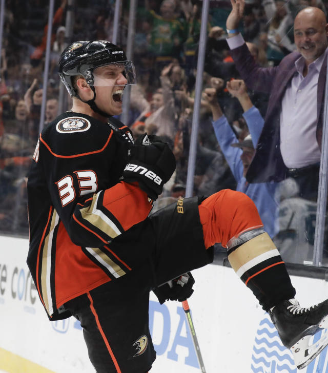 Anaheim Ducks right wing Jakob Silfverberg celebrates after scoring against the San Jose Sharks during the second period of an NHL hockey game in Anaheim, Calif., Thursday, Nov. 14, 2019. (AP Photo/Chris Carlson)