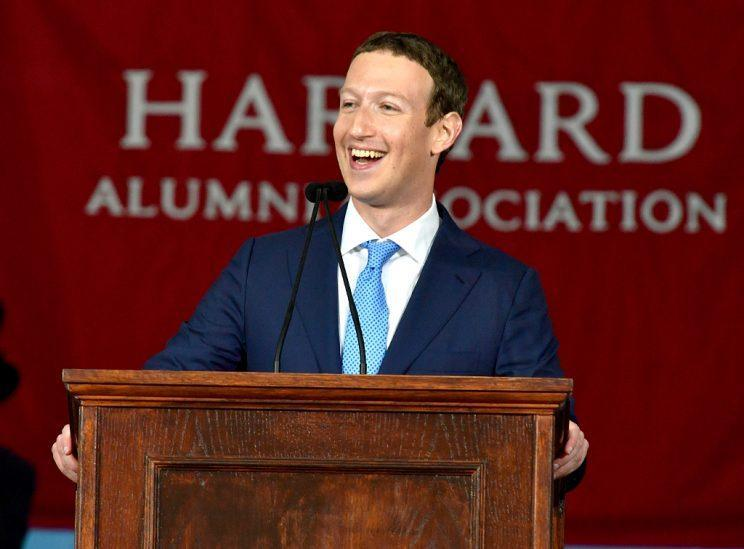 Facebook Founder and CEO Mark Zuckerberg delivered the commencement address at Harvard on Thursday. (Photo: Paul Marotta/Getty Images)