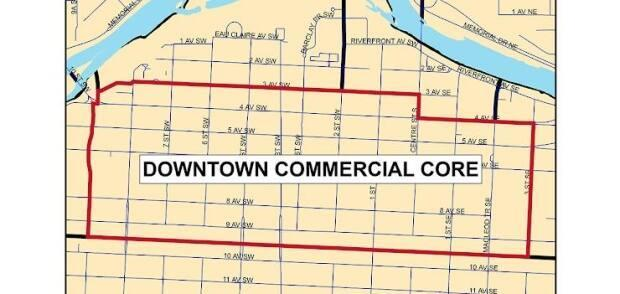 This map shows the area of the downtown Calgary that is not a part of any of the city's 150 community associations. (Photo submitted by Paul Fairie - image credit)