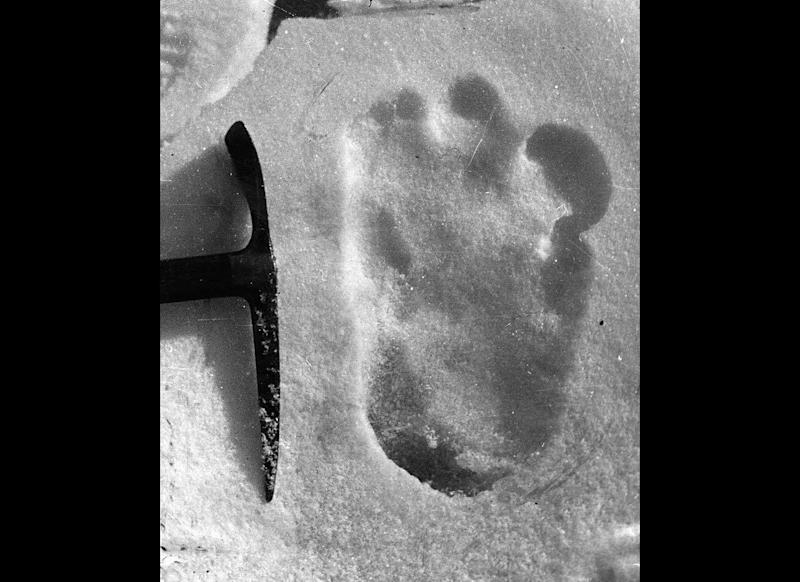This alleged Abominable Snowman footprint photo was taken near Mount Everest on Dec. 13, 1951.