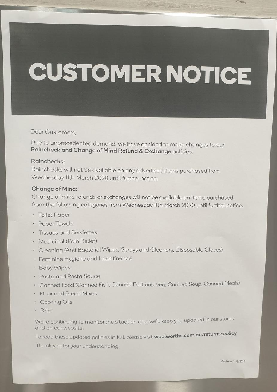 The notice advising Woolworths customers of limitations on certain products.