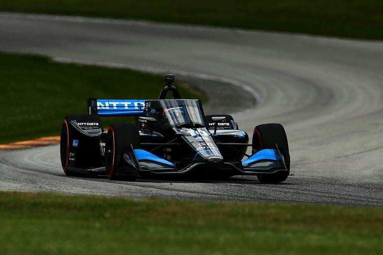 Sweden's Felix Rosenqvist driving for Chip Ganassi Racing wins the second race of an IndyCar weekend double-header at Road America in Elkhart Lake, Wisconsin