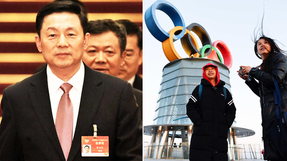 Guo Weimin, pictured here responding to calls to boycott the 2022 Winter Olympics.
