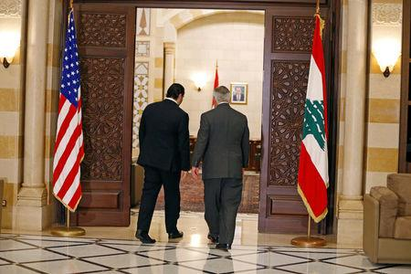 Lebanon's Prime Minister Saad al-Hariri meets with U.S. Secretary of State Rex Tillerson at the governmental palace in Beirut, Lebanon, February 15, 2018. REUTERS/Jamal Saidi