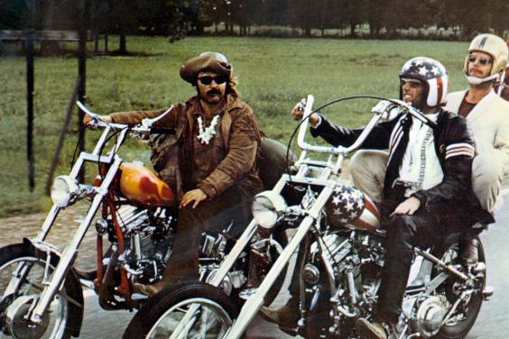 Born to be wild: (from left) Hopper, Jack Nicholson and Peter Fonda