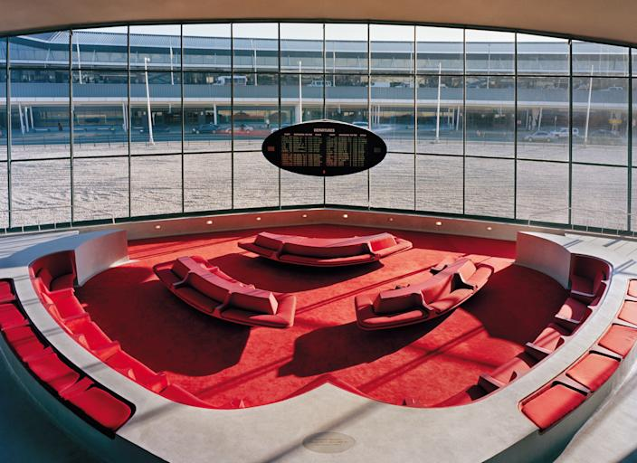 A sunken seating area in the TWA Hotel at Kennedy International Airport.