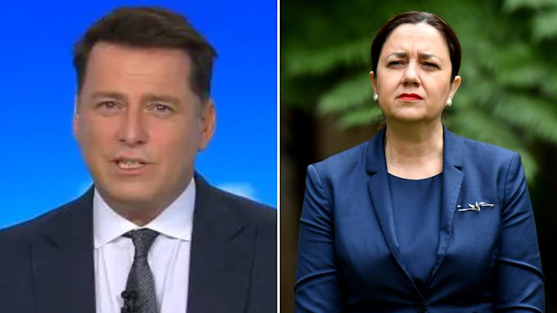 Today show host Karl Stefanovic and Queensland Premier AnnastaciaPalaszczuk pictured.