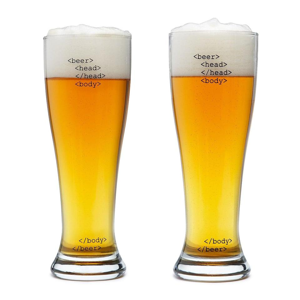 <p>Men who code will find these <span>HTML Beer Glasses</span> ($25 for set of two) more than satisfying.</p>