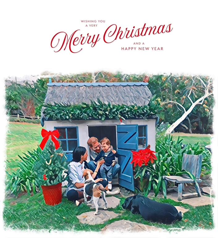 Prince Harry and Duchess Meghan of Sussex play with their son Archie and their dogs in their 2020 Christmas card image.