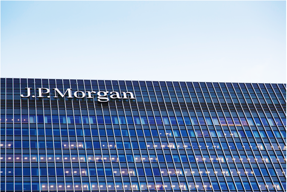 A JPMorgan Chase sign atop a building in London.