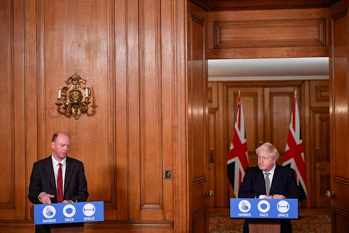 (left to right) Chief Medical Officer Professor Chris Whitty and Prime Minister Boris Johnson during a media briefing in Downing Street, London, on coronavirus (COVID-19).