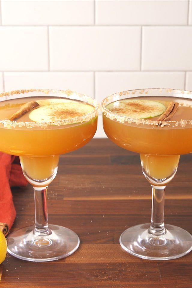 """<p>These apple cider margaritas are so easy to prep and can be made in just five minutes.</p><p><em>Get the recipe from <a href=""""https://www.delish.com/cooking/recipe-ideas/recipes/a55800/apple-cider-margaritas-recipe/"""" rel=""""nofollow noopener"""" target=""""_blank"""" data-ylk=""""slk:Delish"""" class=""""link rapid-noclick-resp"""">Delish</a>.</em> </p>"""