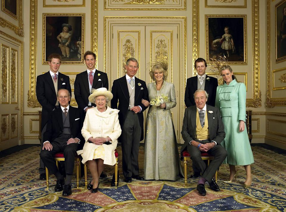 The Prince of Wales and his new bride Camilla, Duchess of Cornwall, with their families (L-R) back row Prince Harry, Prince William, Tom Parker Bowles and Laura Parker Bowles (L-R front row) Duke of Edinburgh, HM The Queen Elizabeth II and Camilla's fathe