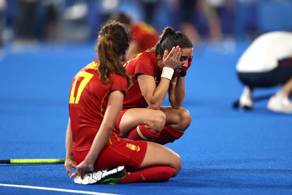 TOKYO, JAPAN - AUGUST 02: Belen Iglesias Marcos of Team Spain reacts following a loss in the Women's Quarterfinal match between Spain and Great Britain on day ten of the Tokyo 2020 Olympic Games at Oi Hockey Stadium on August 02, 2021 in Tokyo, Japan. (Photo by Buda Mendes/Getty Images)