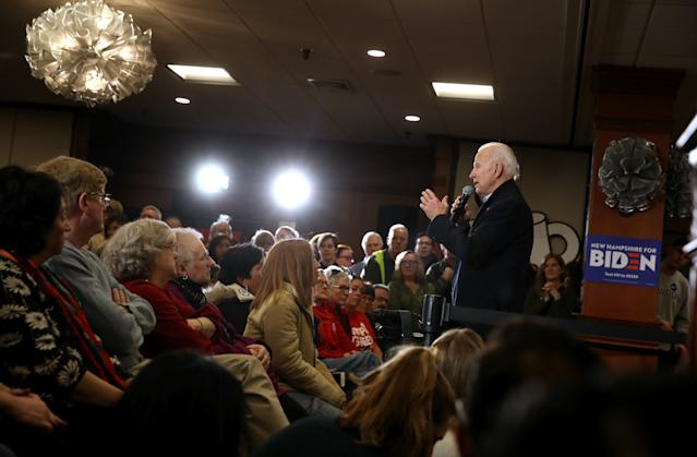 Joe Biden speaks at a campaign appearance in Hampton, N.H. on Sunday. (Justin Sullivan/Getty Images)