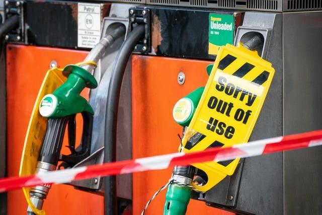 Out of use petrol pumps at a petrol station in central London