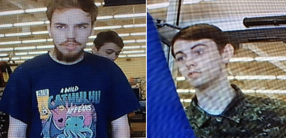Pictured Kam McLeod (left) and Bryer Schmesgelsky (right). Police say the pair dumped two black backpacks.