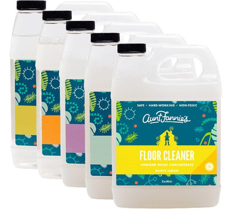 """<p>These non-toxic floor cleaners offer commercial-grade cleaning power made of simple ingredients—think vinegar, plant cleaners, and essential oils. Dilute with water, pick up a mop, and enjoy floors you could (not should) eat off of.</p> <p><strong>To buy: </strong>$8; <a href=""""https://auntfannies.com/product/vinegar-wash-floor-cleaners/"""">auntfannies.com.</a></p>"""
