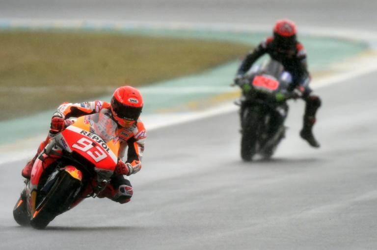 Marc Marquez (left) briefly led the French MotoGP