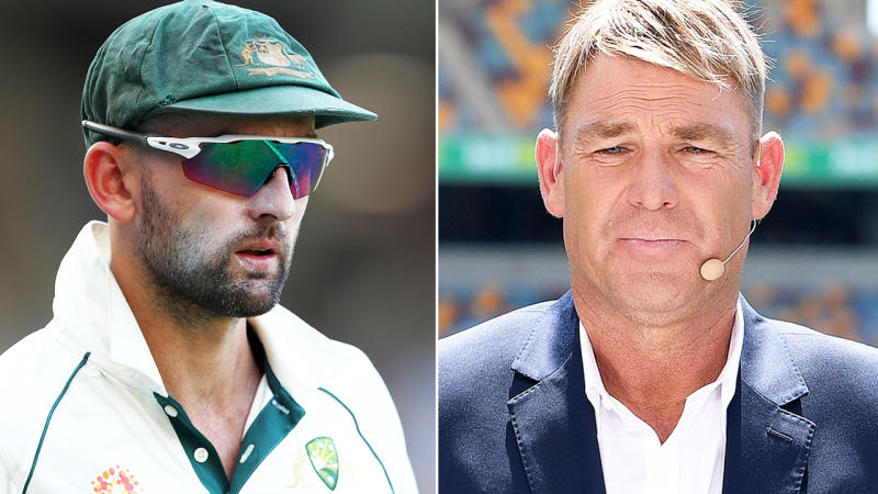 Shane Warne and Nathan Lyon, pictured here during Australia's win over New Zealand.