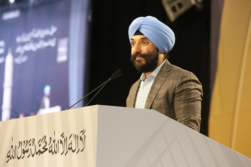 Minister of Innovation, Science and Economic Development Navdeep Bains delivers remarks during the 43rd Jalsa Salana (annual convention) of the Ahmadiyya Muslim Jama'at Canada on July 6, 2019, in Mississauga, Ontario, Canada. Over 20,000 Muslims attended this year's convention which was held for three days. (Photo by Creative Touch Imaging Ltd./NurPhoto via Getty Images)