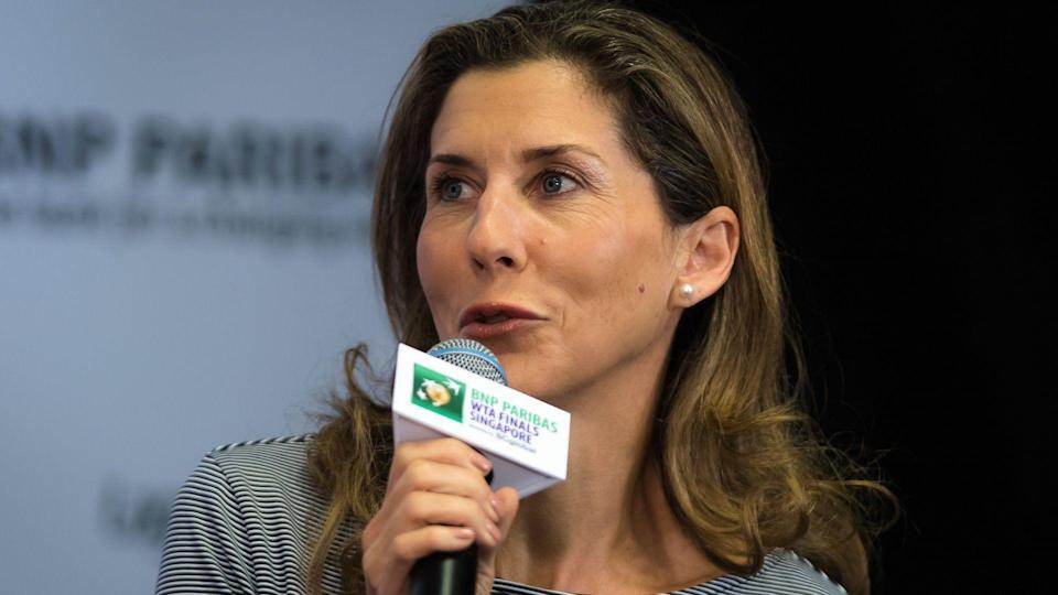 Mandatory Credit: Photo by Rob Prange/Shutterstock (9940355bq)Monica Seles talks to the media during the WTA Legends Press Conference at the 2018 WTA Finals tennis tournamentBNP Paribas WTA Finals, Day 2, Kallang, Singapore - 22 Oct 2018.