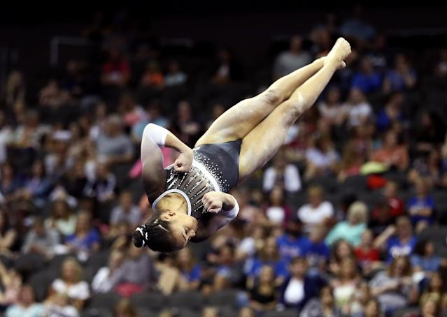 Konnor McClain competes on floor exercise during the women's junior competition of the 2019 U.S. Gymnastics Championships at the Sprint Center on August 11, 2019, in Kansas City, Missouri. (Photo by Jamie Squire/Getty Images)
