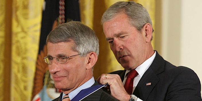 President George W. Bush presents the Presidential Medal of Freedom to Anthony Fauci during ceremonies at the White House in Washington, DC, June 19, 2008.