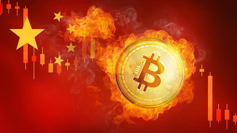 Golden bitcoin coin on China flag in fire is falling