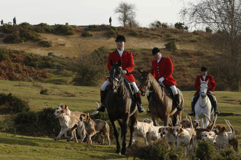 <strong>Peopleconduct a trail hunt on Boxing Day last year</strong> (Luke MacGregor / Reuters)
