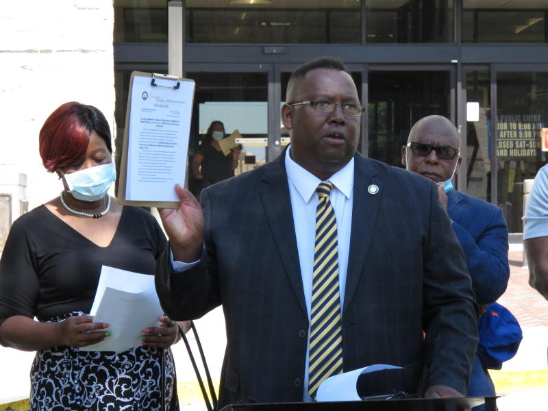 State Rep. Carl Gilliard addresses a news conference in Savannah, Ga., on Friday, June 5, 2020, calling for the legislature to repeal the state's 19th-century citizen arrest law. A Georgia prosecutor in April cited the 1863 law in a legal opinion that concluded the pursuit and fatal shooting of Ahmaud Arbery were justified. The Georgia Bureau of Investigation and a subsequent prosecutor who took over the case disagreed and charged three white men who chased Arbery with felony murder in his death on Feb. 23, 2020. (AP Photo/Russ Bynum)