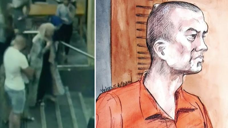 Rana Elasmar (left), 31, leaves the cafe in Parramatta where she was attacked by Stipe Lozina (right), 43 (pictured in courtroom sketch).