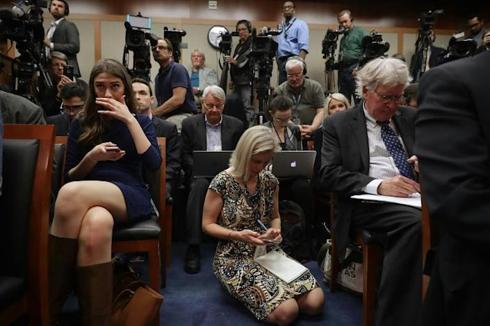 Kelly, pictured (center) at the US Senate in 2017, says she was told by Pompeo to find Ukraine on a map with no country names included (AFP Photo/CHIP SOMODEVILLA)