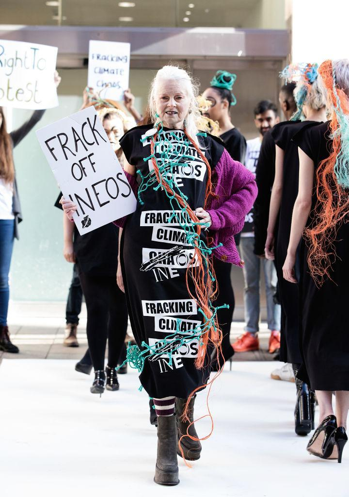 """<p>A closeup of Vivienne Westwood at the """"Ineos v. the People"""" catwalk protest. (Photo: Getty Images) </p>"""