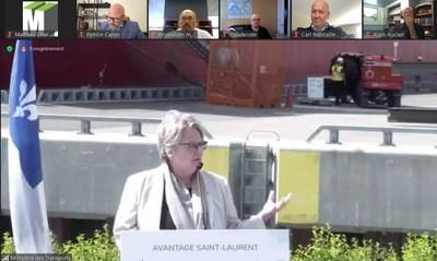 Maritime vision Avantage Saint-Laurent was announced yesterday by Chantal Rouleau, Minister for Transport and Minister Responsible for the Metropolis and the Montréal Region. (CNW Group/Metropolitan Cluster of logistics and transportation in Montreal)