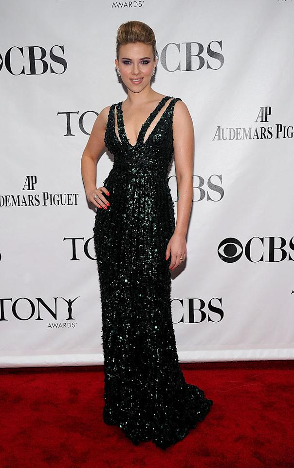 """Scarlett Johansson -- who won the Featured Actress in a Play prize for her debut performance in """"A View from the Bridge"""" -- sparkled as always in a gorgeous green gown and bouffant updo upon arriving at the 64th Annual Tony Awards at NYC's Radio City Music Hall. Bryan Bedder/<a href=""""http://www.gettyimages.com/"""" target=""""new"""">GettyImages.com</a> - June 13, 2010"""