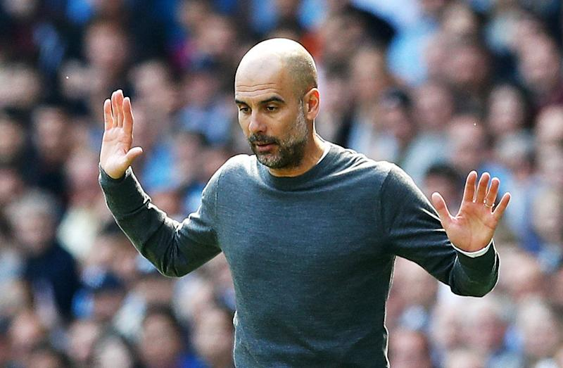 Manchester City manager Pep Guardiola reacts on the touchline during the Premier League match at the Etihad Stadium, Manchester. (Photo by Martin Rickett/PA Images via Getty Images)