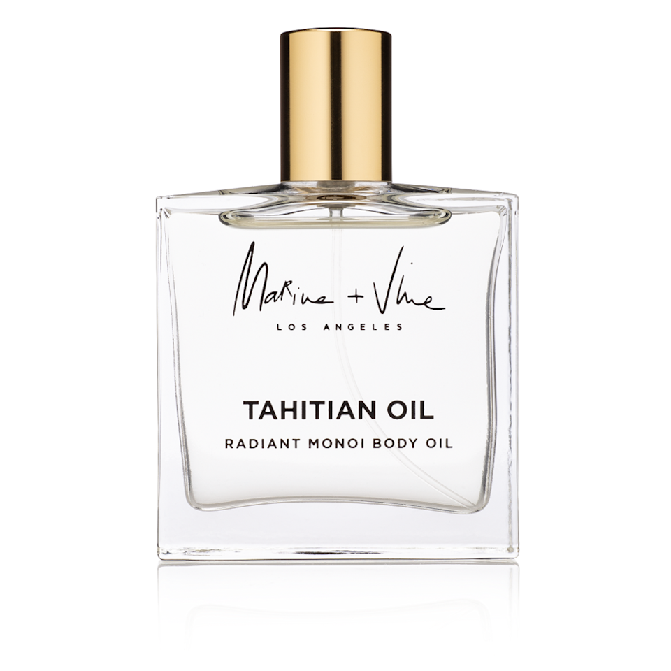 """This Tahitian oil isn't only perfect because of its tropical, beachy scent. It features a blend of kukui, macadamia, and passion fruit oils that are rich in antioxidants, vitamins, and fatty acids—meaning, it goes to work to both repair your skin and protect it. $62, Marine + Vine. <a href=""""https://marineandvine.com/products/tahitian-oil-radiant-monoi-body-oil"""" rel=""""nofollow noopener"""" target=""""_blank"""" data-ylk=""""slk:Get it now!"""" class=""""link rapid-noclick-resp"""">Get it now!</a>"""