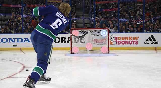 "<a class=""link rapid-noclick-resp"" href=""/nhl/players/6765/"" data-ylk=""slk:Brock Boeser"">Brock Boeser</a> shot the lights out at the NHL skills competition. (Photo by Dave Sandford/NHLI via Getty Images)"