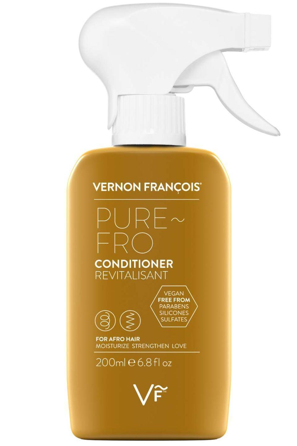 """<p>This one is for all my girls rocking a tight fro. This spray on wash out conditioner is excellent for detangling kinky, coily and tight curl textures. Filled with nourishing ingredients like eucalyptus and lavender oil this conditioner was formulated to strengthen delicate strands. </p><p><a class=""""link rapid-noclick-resp"""" href=""""https://www.amazon.com/Vernon-Fran%C3%A7ois-Pure-Fro-Conditioner/dp/B07BNWCKH1/ref=sr_1_5?dchild=1&keywords=Vernon+Francois+Pure+Fro+Conditioner&qid=1626886568&sr=8-5&tag=syn-yahoo-20&ascsubtag=%5Bartid%7C10065.g.37036119%5Bsrc%7Cyahoo-us"""" rel=""""nofollow noopener"""" target=""""_blank"""" data-ylk=""""slk:Shop Now"""">Shop Now</a></p>"""