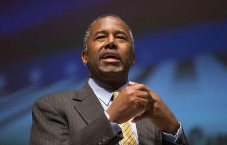 U.S. Republican presidential candidate Dr. Ben Carson speaks during the Freedom Summit in Greenville