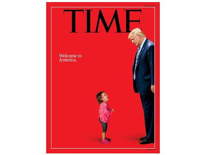 Time Magazine's 2 July 2018 edition cover features Donald Trump and a two-year-old Honduran girl crying as her mother was taken by police for crossing the US-Mexico border illegally: TIME Photo-Illustration. Photographs by Getty