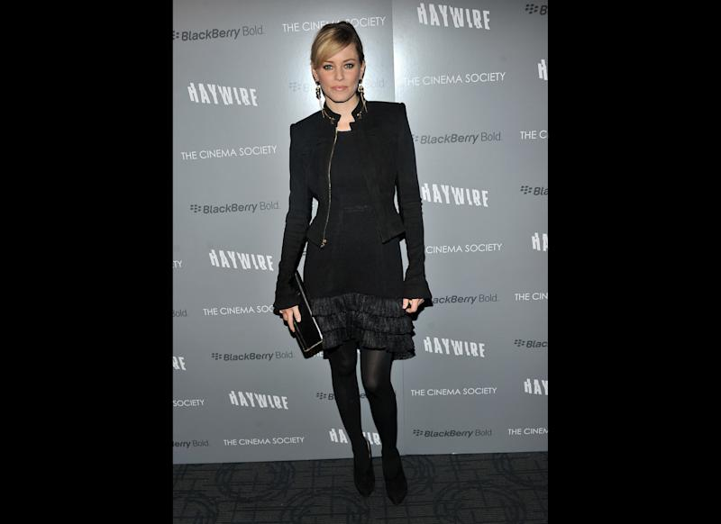 Actress Elizabeth Banks attends the Cinema Society & Blackberry Bold screening of 'Haywire' at Landmark Sunshine Cinema on January 18, 2012 in New York City. (Getty)