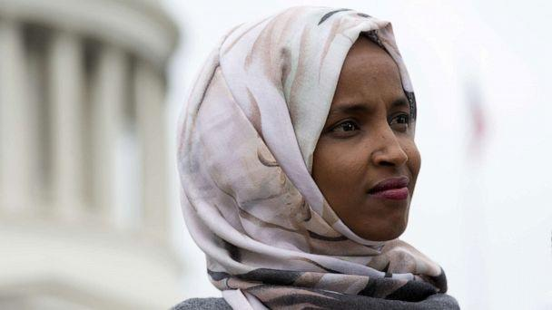 PHOTO: Rep. Ilhan Omar speaks at a press conference on the No Shame at School Act, June 19, 2019, in Washington, DC. (Stefani Reynolds/Getty Images)